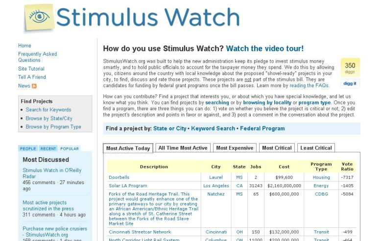 And by contrast, a private site from Stimulus Watch
